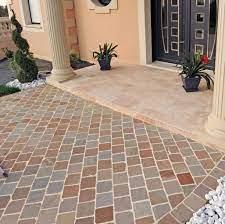 entree pavee pierre naturelle gres multicolore Loctudy - Allées pavés